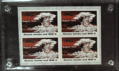 Atomic Bombs End WWII stamps (four stamps in transparent case) cover